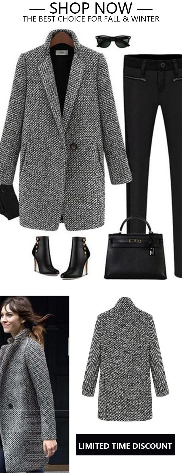 Photo of Houndstooth Coat Slim Thick Overcoat
