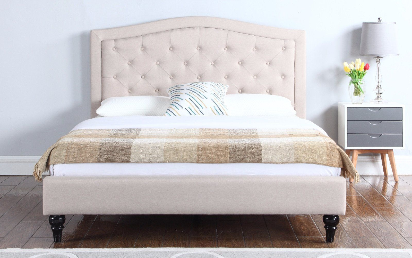 Carmen Victorian Inspired Tufted Linen Bed Frame In Ivory Fabric