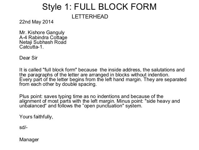 Letter Full Block Style Cover Example Application Business Samples