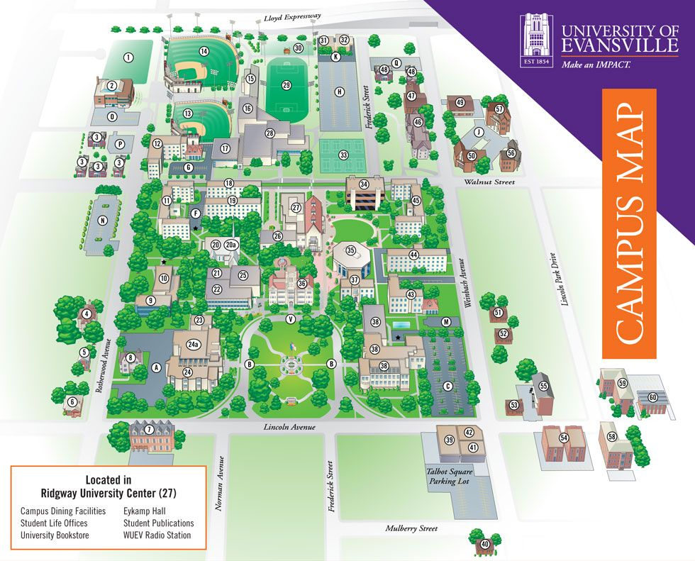 Campus Map University Of Evansville Abby S Evansville Campus