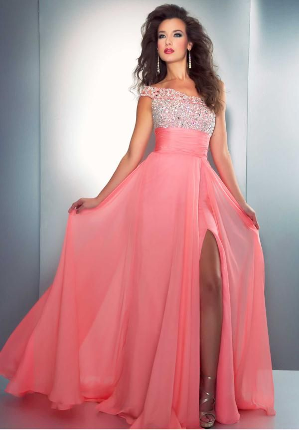 sparkly elegant coral prom dresses | Color Yourself Amazing in a ...