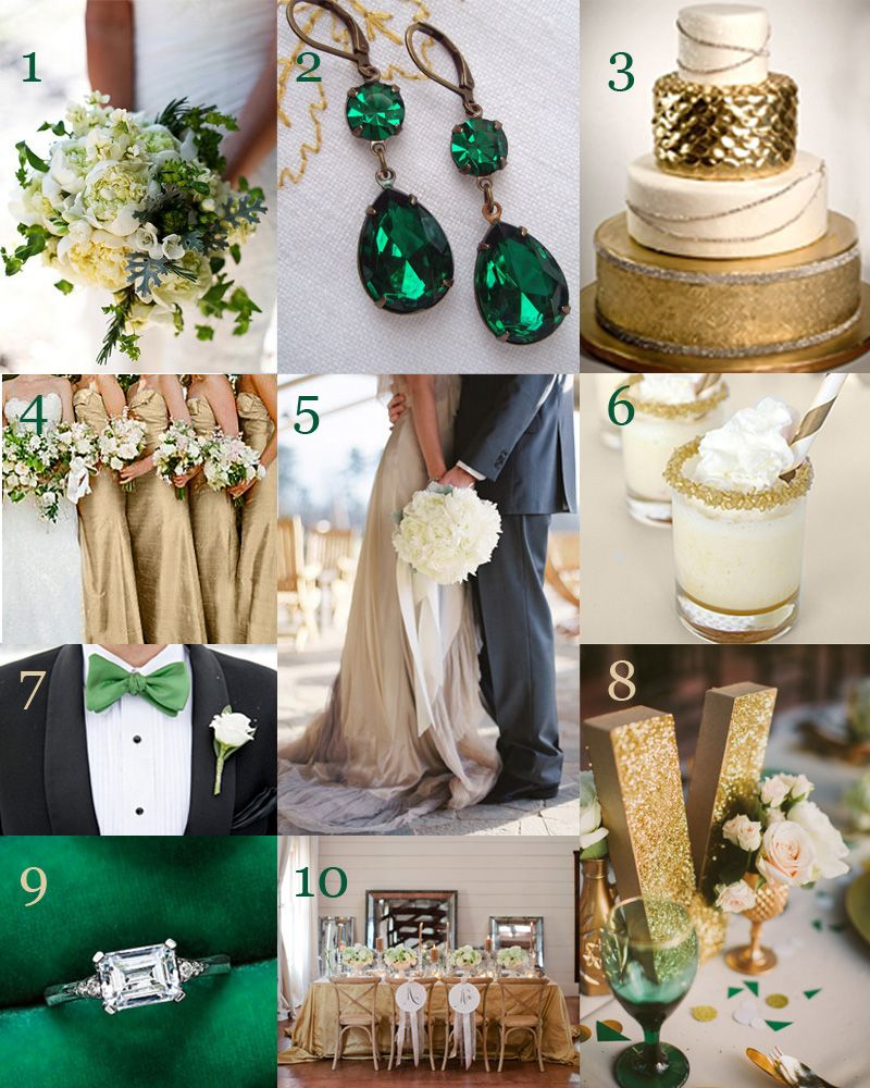 Emerald And Gold Wedding Inspiration
