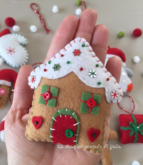 Gingerbread house,Christmas pudding and Gingerbread man.Set of 3 felt ornaments.Christmas decorations. Handmade.Gift tag.Christmas tree