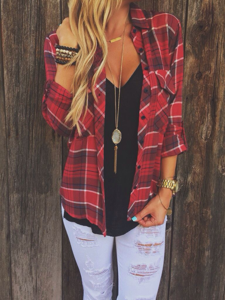 e71f2be534a7  fall  outfits   Red Plaid Shirt - Ripped Jeans