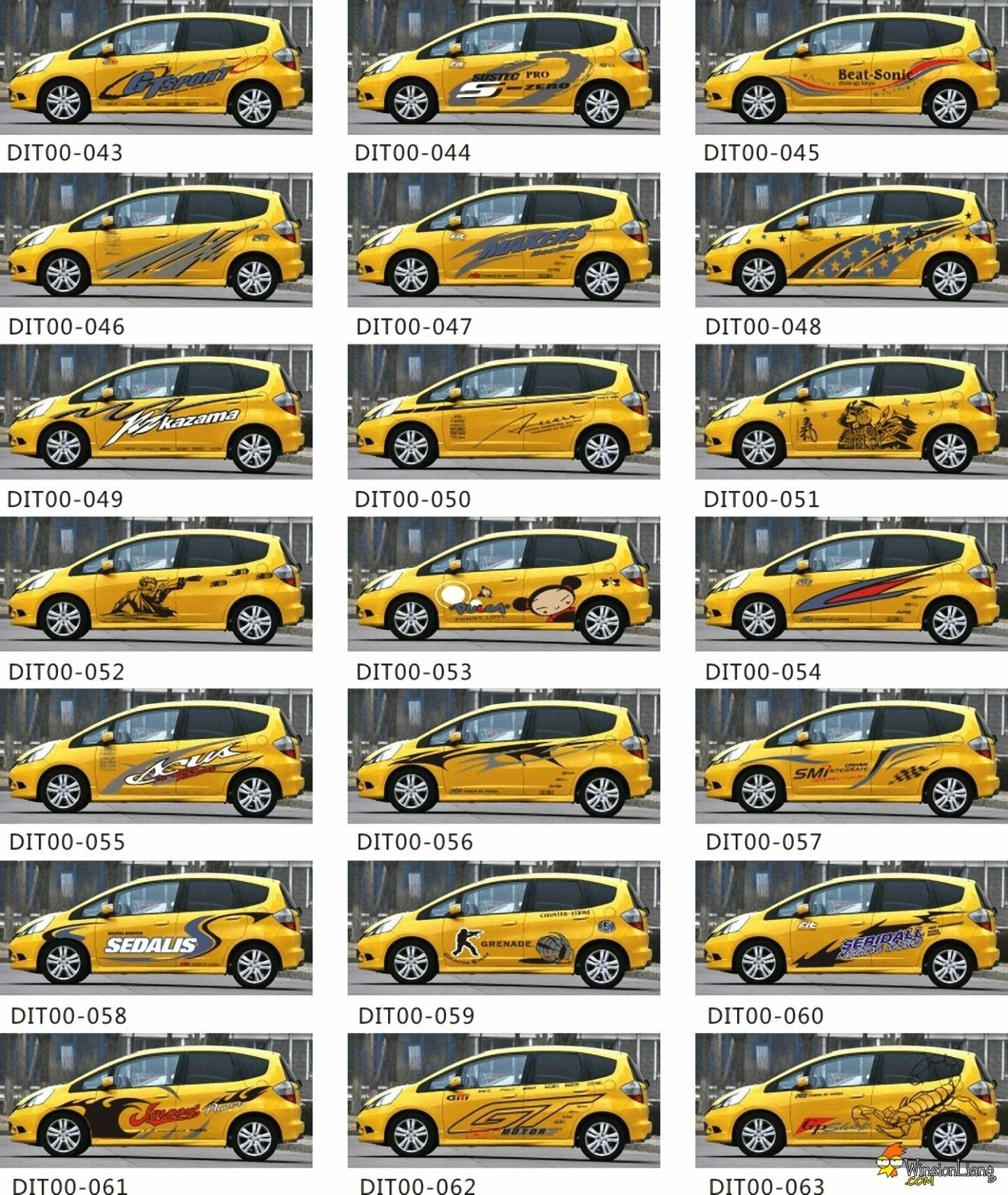 Yellow car design car body sticker
