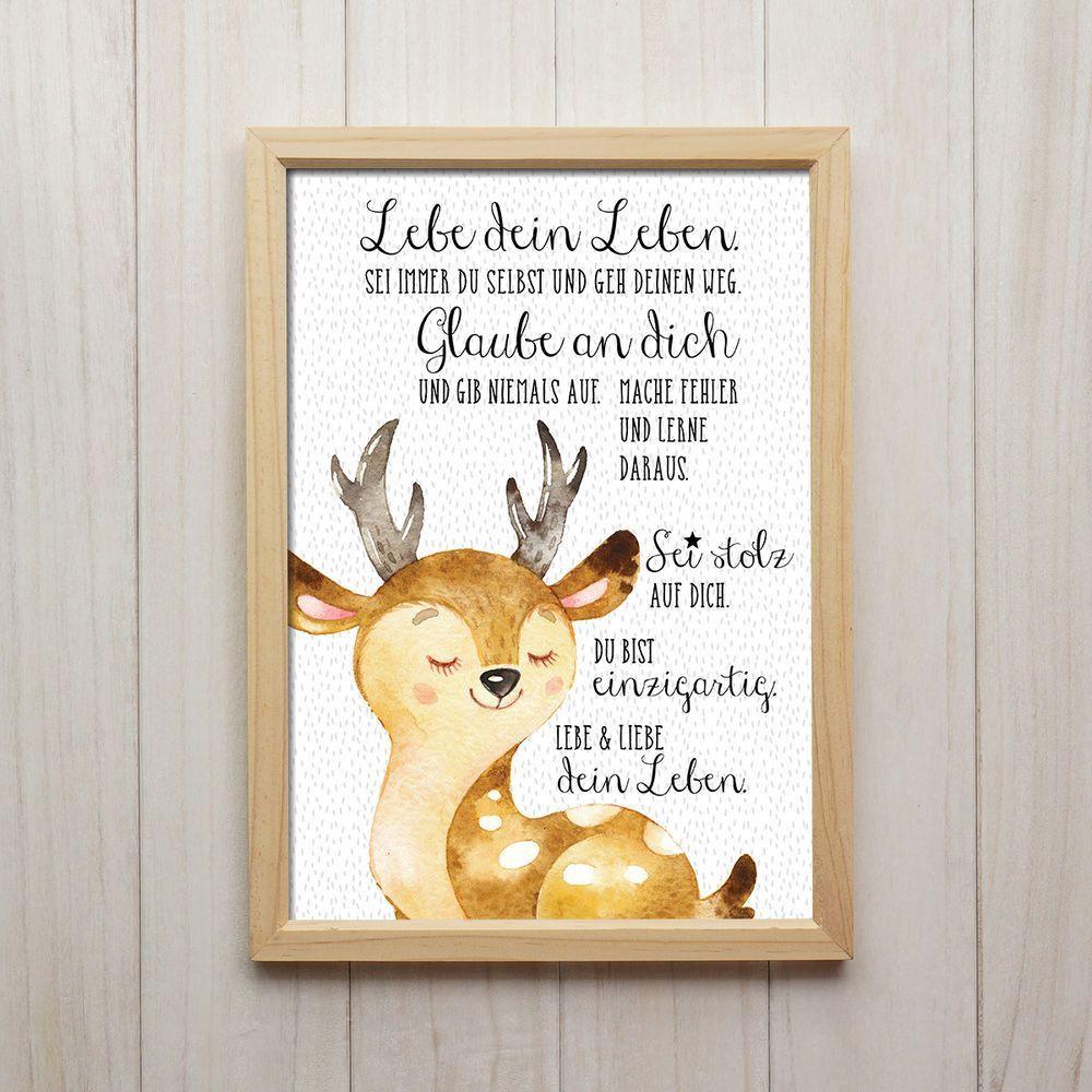 Bild Lebe Dein Leben Kunstdruck DIN A4 Hirsch Spruch Tiere Kinderzimmer Deko –  …