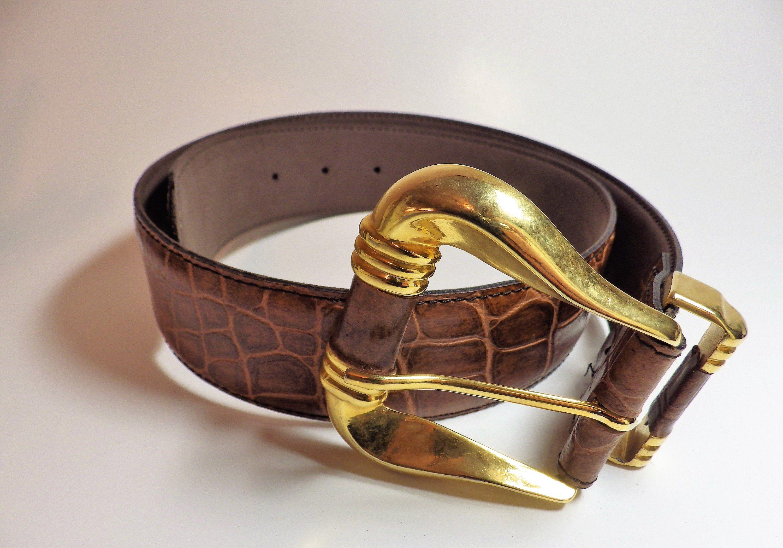 7786091231d 1990s Vintage Lemie Leather Belt Ladies Gold Buckle Moc Croc Cowhide ...