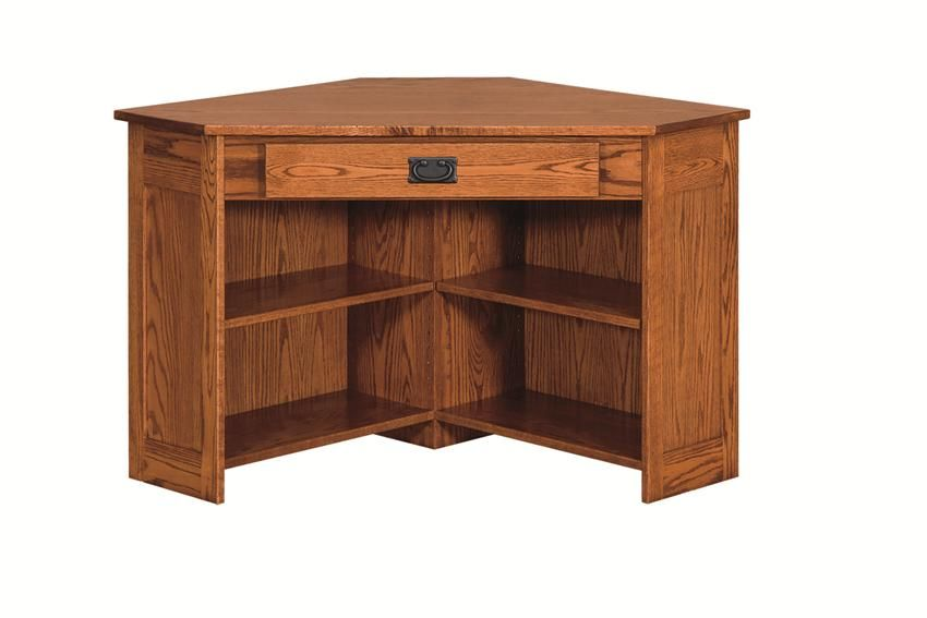 Amish Arts And Crafts Corner Computer Desk With Bottom Shelves Wood Computer Desk Amish Furniture Solid Wood Office Furniture