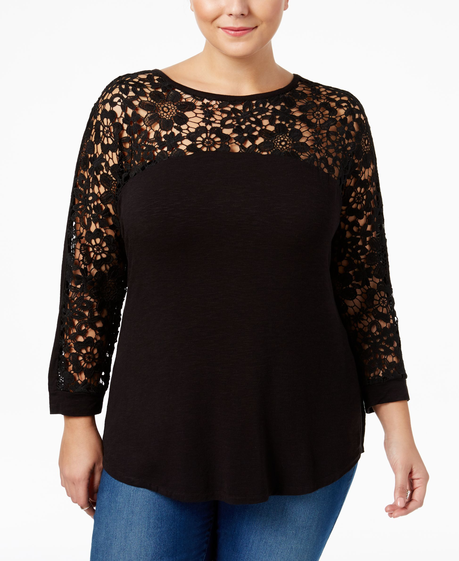 974f40dfe934 Extra Touch Trendy Plus Size Lace Top