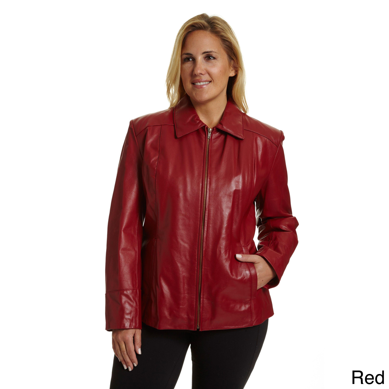 b1a025c4e35 Excelled Women s Plus Lambskin Leather Scuba Jacket (Black-1X Large ...
