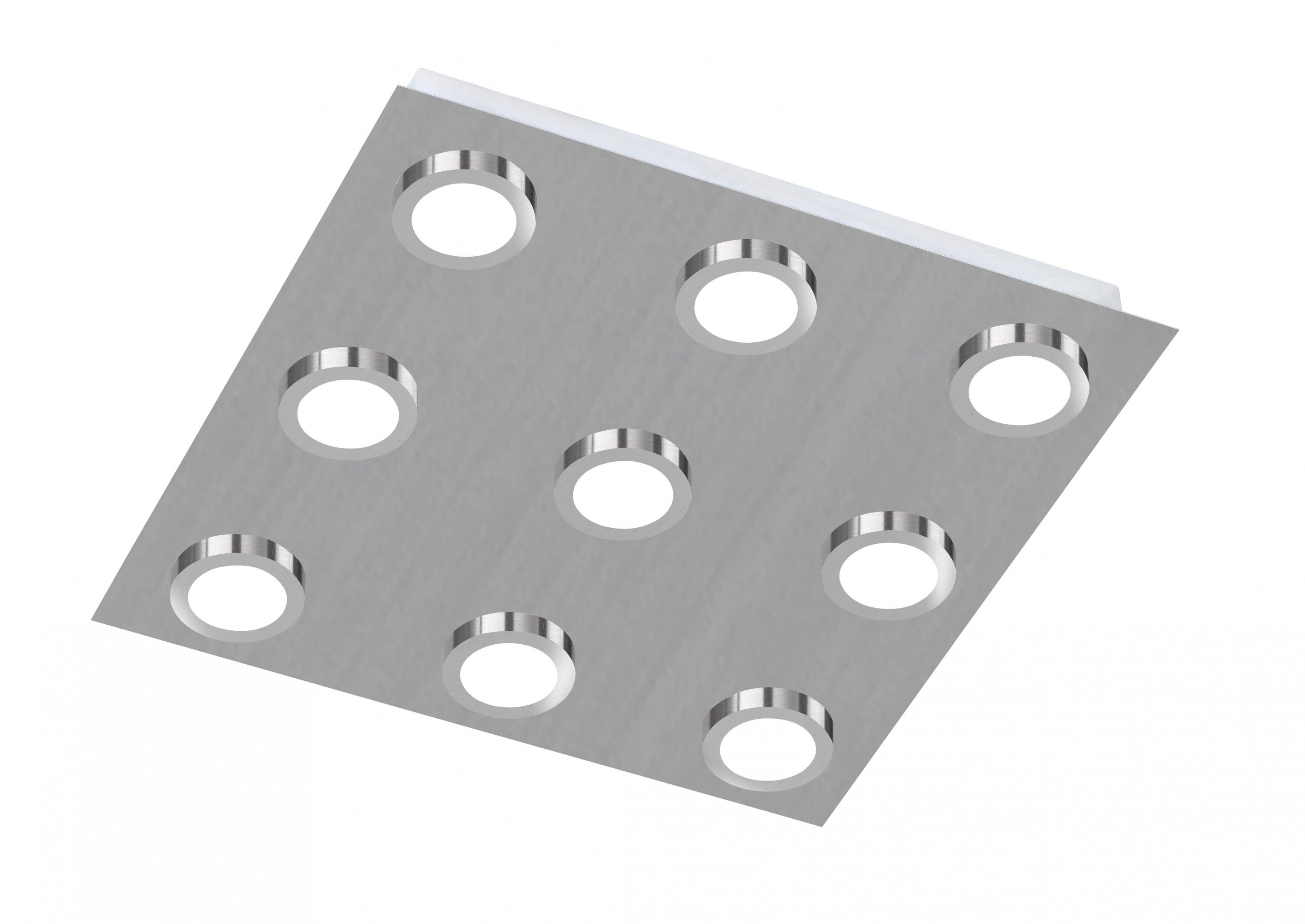 Wofi LED Deckenleuchte Veneta Action 9 flammig Nickel matt Quadratisch Design In