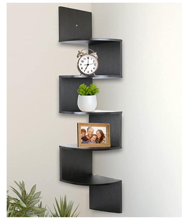 Home Decor Floating Shelves 5 Tier Wall Mount Corner Shelves Espresso Finish In 2020 Corner Shelves Floating Shelves Wall Mounted Corner Shelves