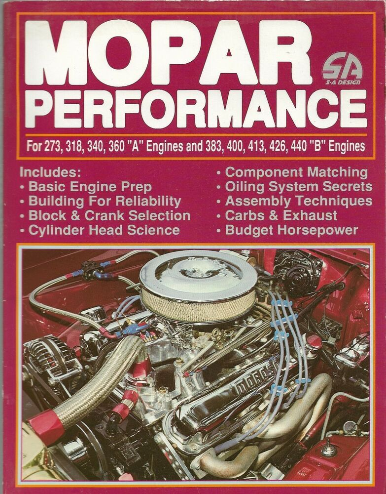 Mopar Performance For 273 318 340 360 A Engines 383 400 413 426 440 1988 Mopar Engineering Automotive Mechanic