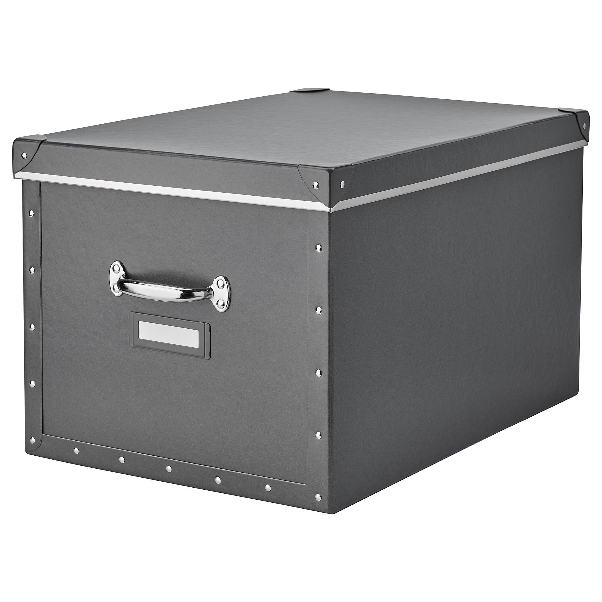 FJÄLLA dark grey, Storage box with lid, 35x56x30 cm IKEA