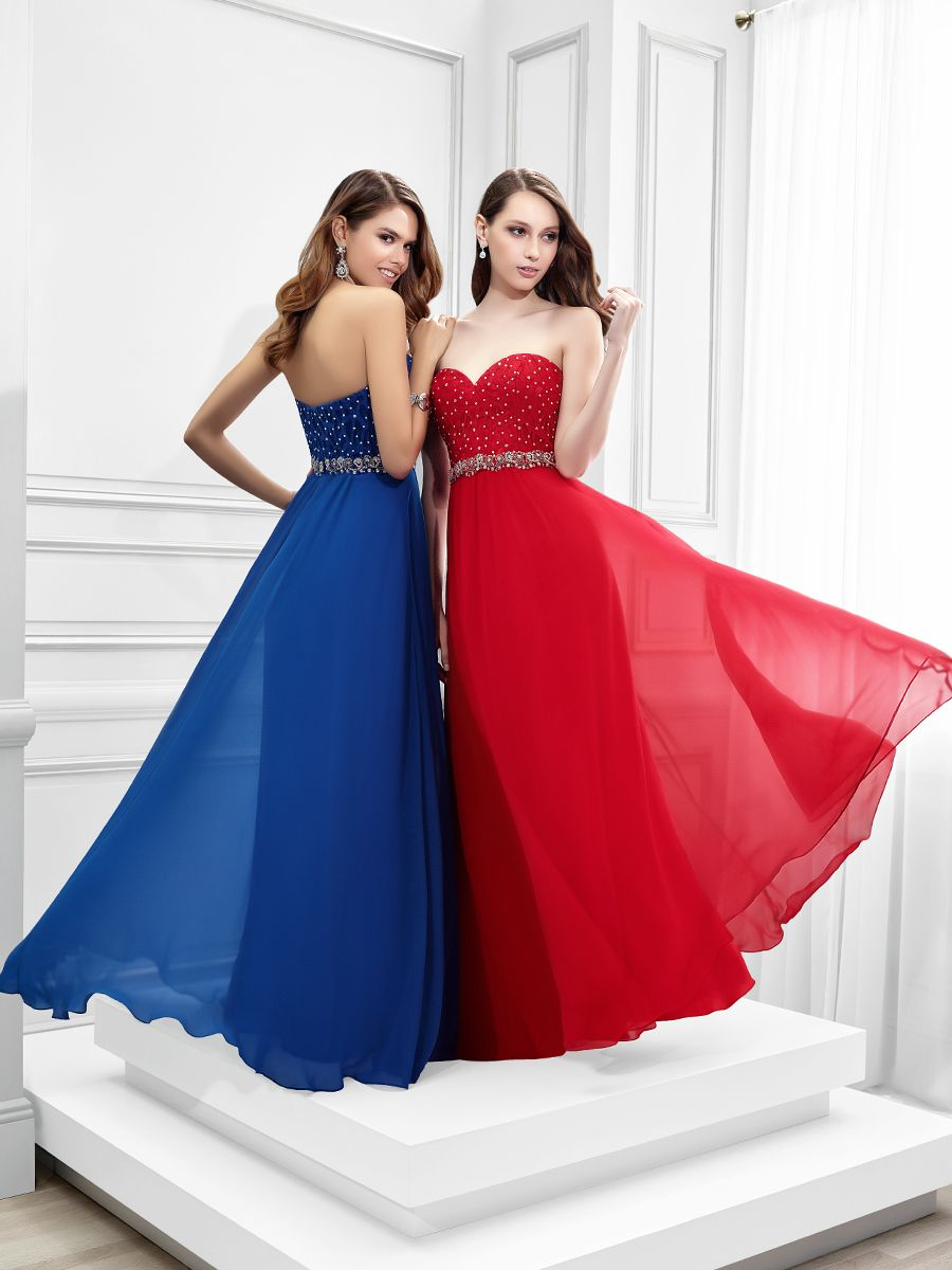 Val Stefani prom Style RE strapless prom dress red and blue