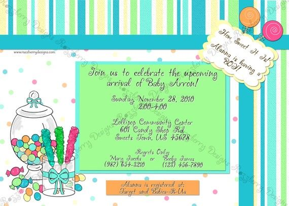Sweet Treat Candy Themed Baby Shower Invitation By