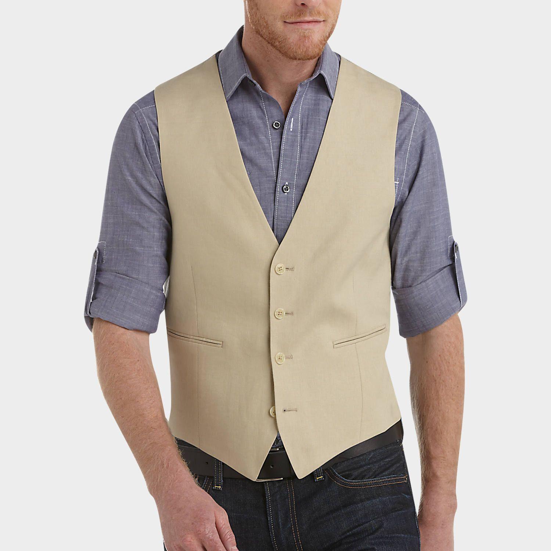 Calvin klein tan linen suit separates vest suit separate vests