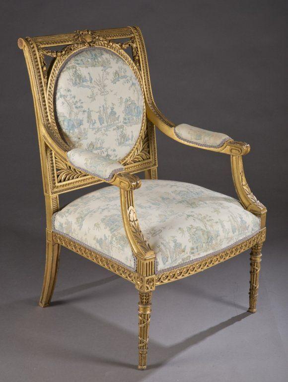 Louis Xvi Style Open Armchair C 1920s 30s
