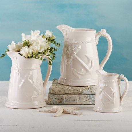 Two's Company Anchors Away Pitchers/Vases - Set of 3