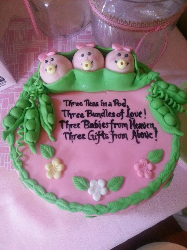 Three Peas In A Pod Triplets Baby Shower Cake Baby Shower