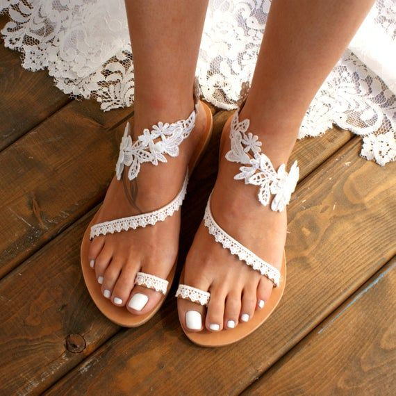"Photo of Handmade to order/ lace sandals/ bridal sandal/ wedding shoes/ off white wedding sandals/ flat lace sandals/ beach sandals/ ""WILDFLOWERS"""