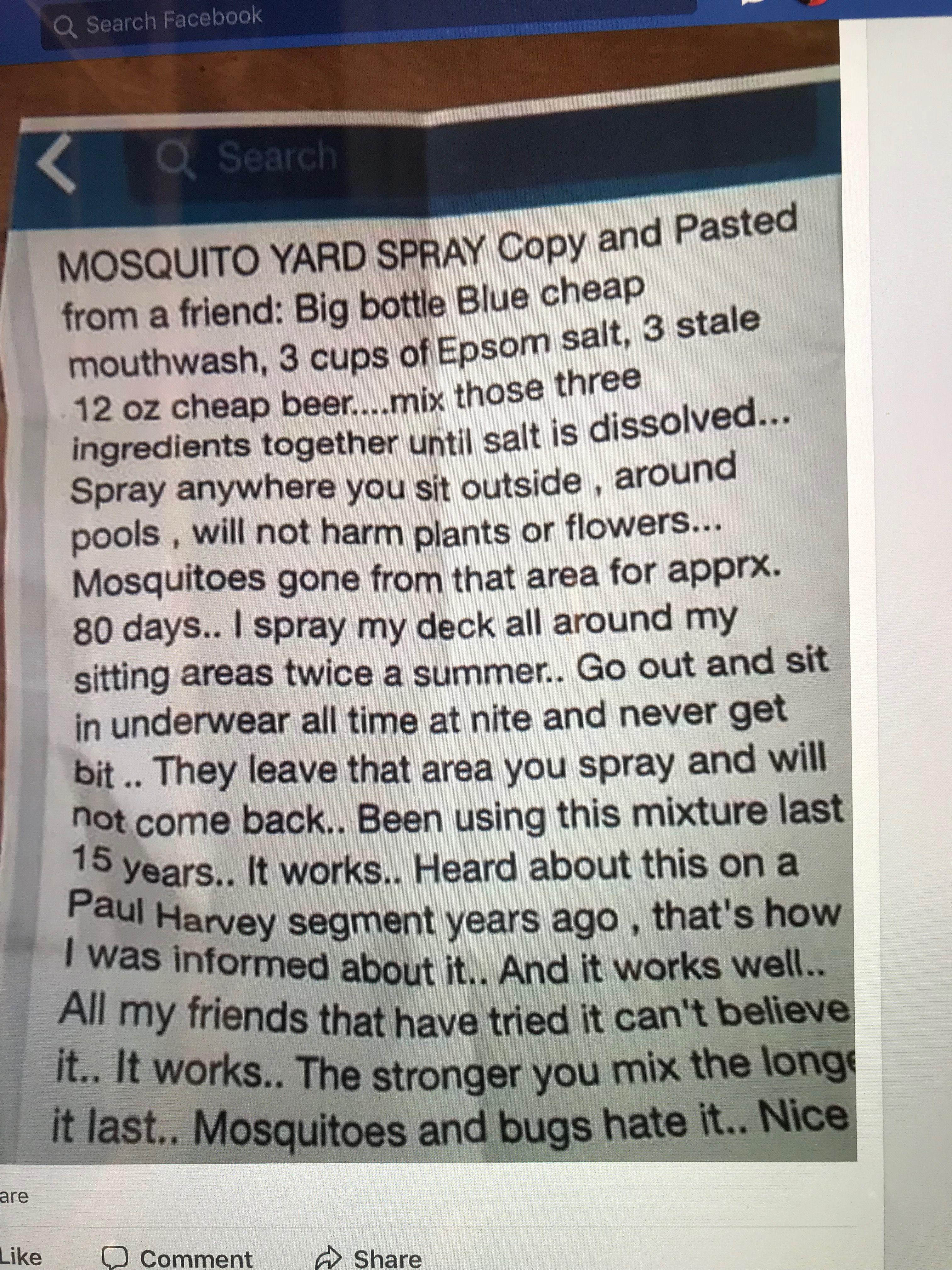 DIY mosquito yard spray Mosquito yard spray, Cheap beer, Diy