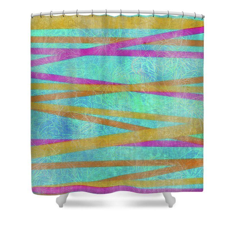 Malaysian Tropical Batik Strip Print Shower Curtain For Sale By