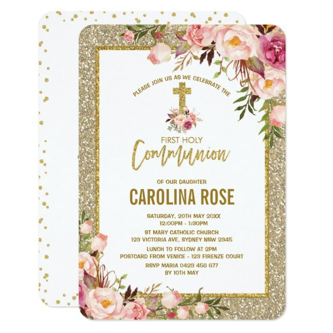 Gold Glitter Blush Floral Holy Communion Baby Girl Invitation #floral #watercolor #baptism #pink #floral #Invitation #invitations #announcements #invites #eventplanning #celebration #partyplanning