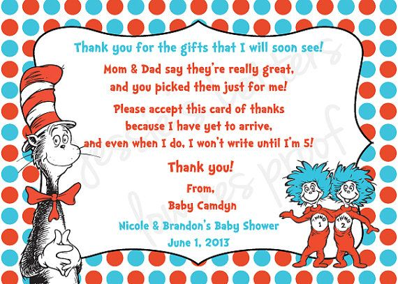 Custom Made Dr Suess Baby Shower Thank You Card  Dr Suess Baby