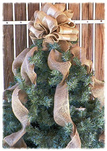 12 Inch Gold Ribbon And Burlap Christmas Tree Topper With Burlap Streamers Christmas Tree Bows Burlap Christmas Tree Ribbon On Christmas Tree