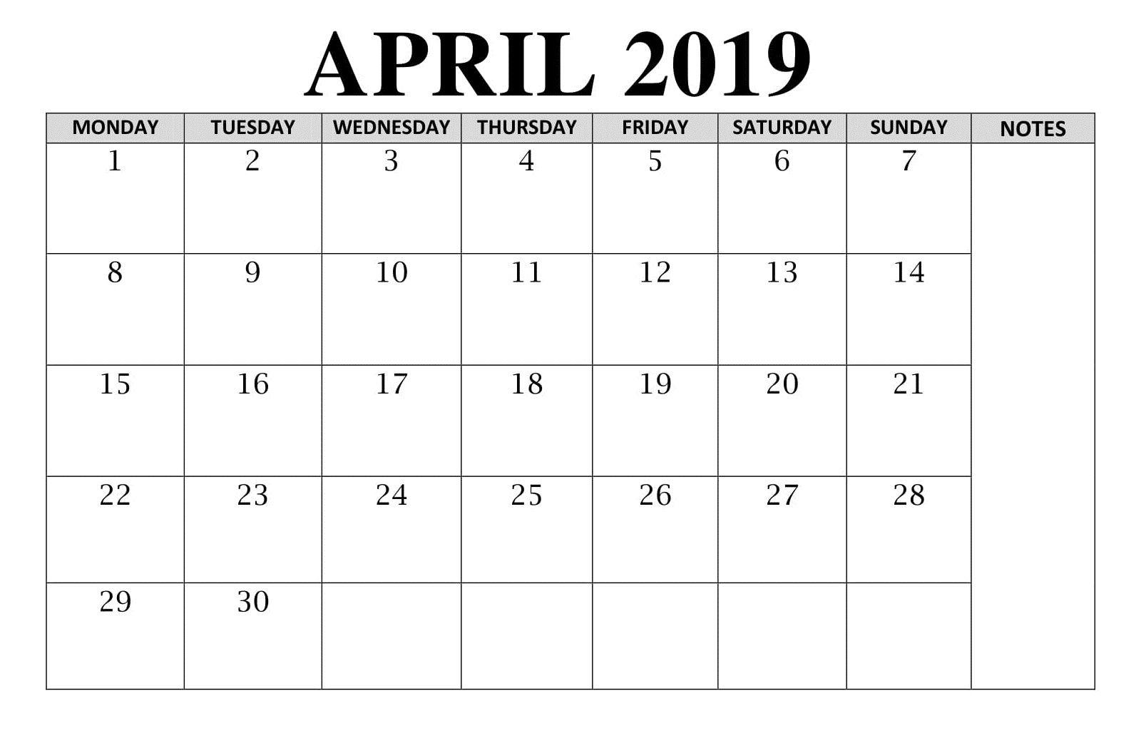 Blank Calendar April Table