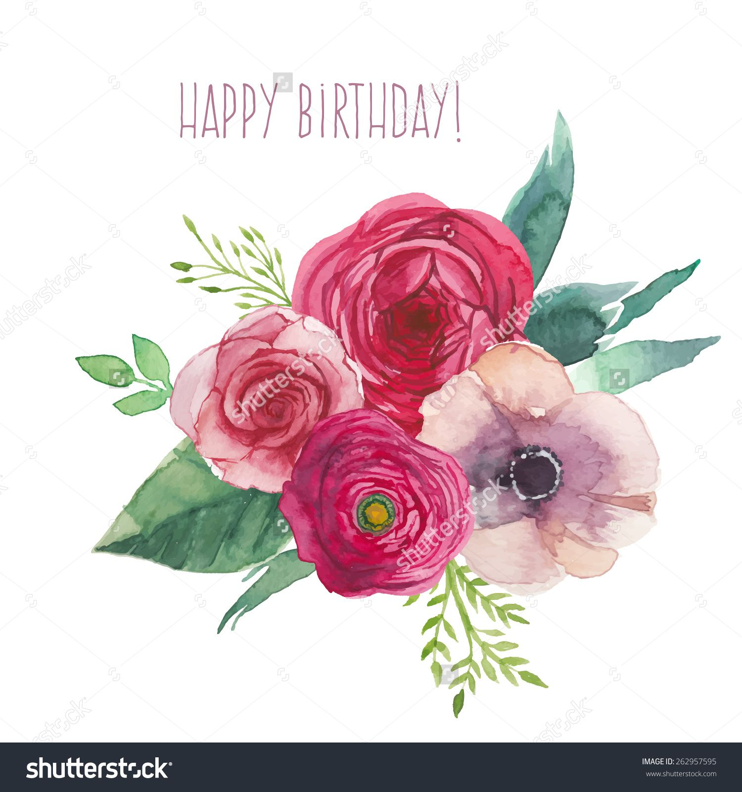 Watercolor happy birthday card with flowers bouquet hand painted watercolor happy birthday card with flowers bouquet hand painted isolated posy with roses ranunculus anemones leaves and floral elements vector artwork izmirmasajfo
