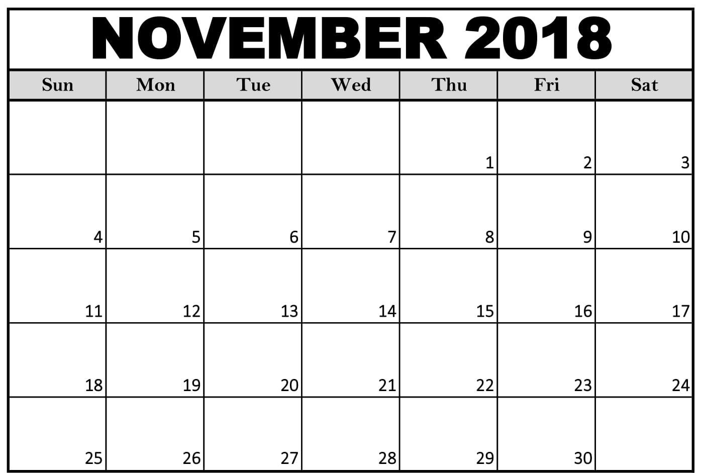 graphic about November Calendar Printable Pdf known as November 2018 Calendar Landscape November Calendar