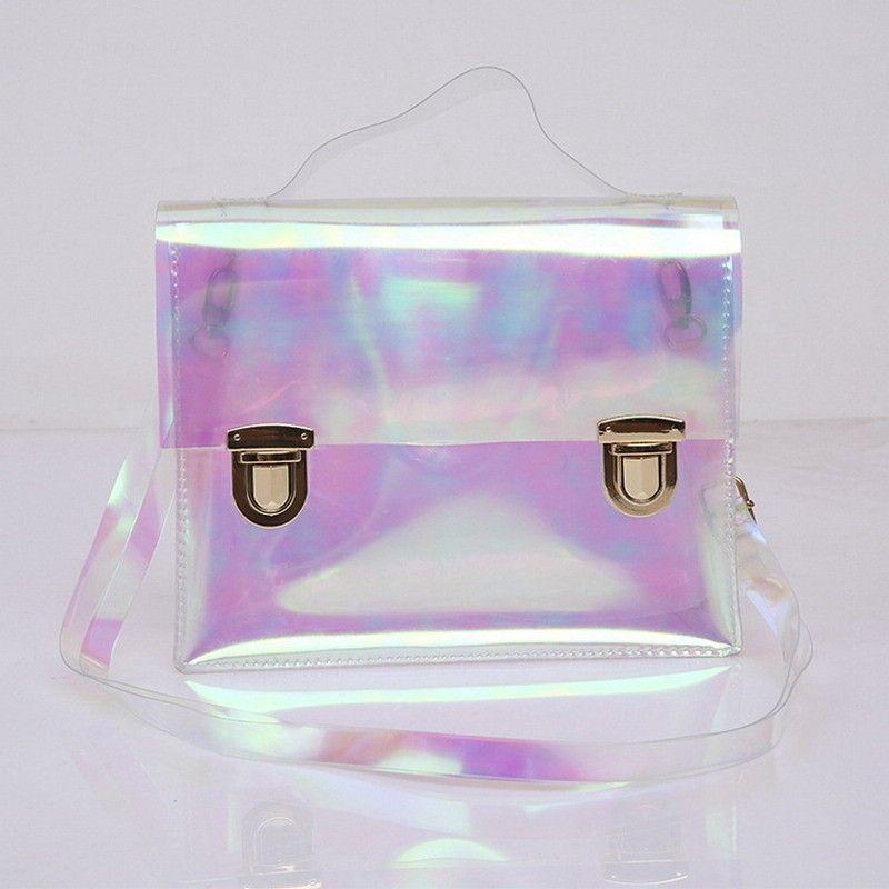 d03277c29 Bolsa Holográfica com Fecho Cores Rosa , Azul e Transparente Bolsas  Divertidas