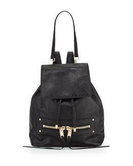 1976a9a3c3e V244B Milly Riley Goatskin Leather Backpack,Black | Fashion ...