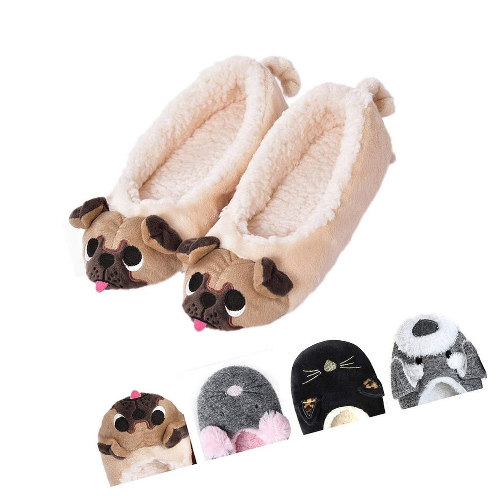 a7af13428057 Women's Plush Winter Warm Animal Soft Cute Home Slippers Dog Pug Dog 7-8 M  US #fashion #clothing #shoes #accessories #womensshoes #slippers (ebay link)