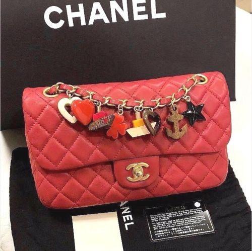 Chanel Matelasse Lambskin Chain Shoulder Bag Porch Charm Purse Red