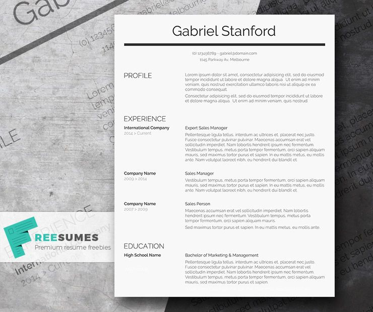 Professional Resume Template Freebie  Sleek And Simple  Simple