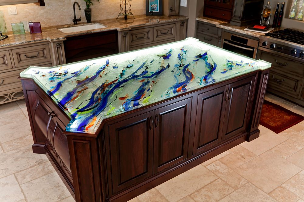Artistic Glass Countertop With A Unique Shape And Beautiful Art By