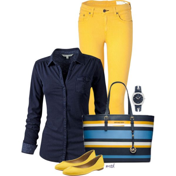 Navy & Yellow Stripe, created by michelled2711 on Polyvore