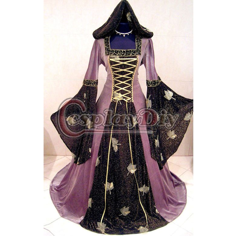 Vintage Mittelalter Medieval Gothic Witch Costume Renaissance Dress