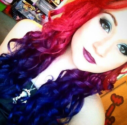 Red Ombre Blue Curly Dyed Hair Blue Ombre Hair Dyed Hair Bright Hair Colors