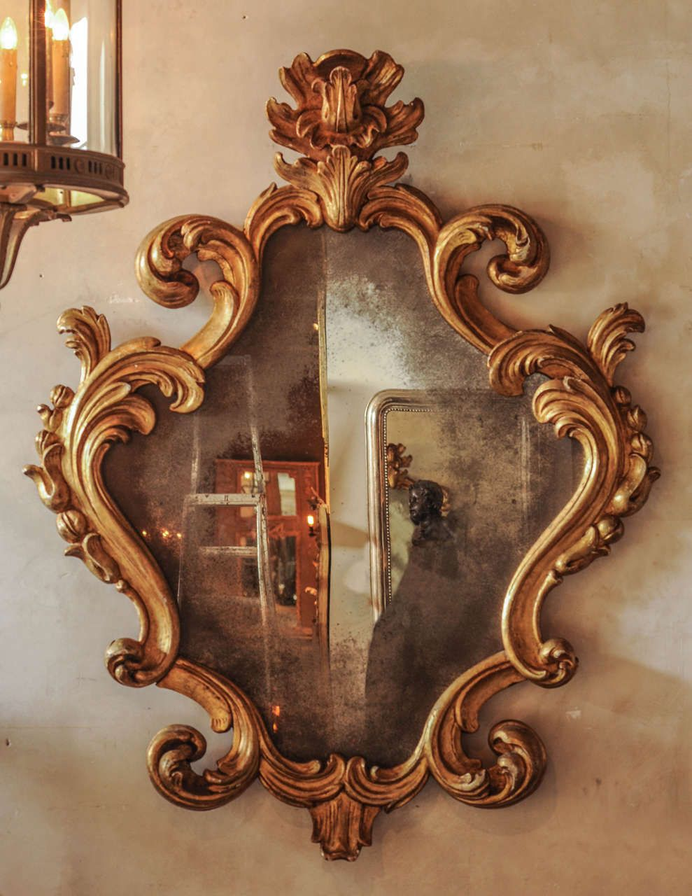 Large 18th Century Italian Baroque Carved Giltwood Mirror