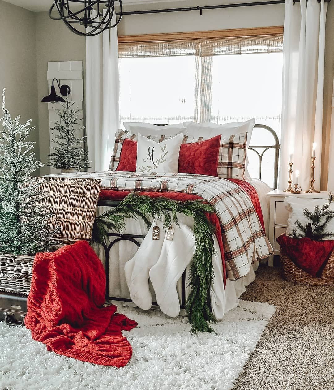 Amanda On Instagram Christmas Trees Cozy Bedding Candles Pretty Pillow From Re Christmas Bedroom Christmas Decorations Bedroom Christmas Room Decor A cozy christmas bedroom