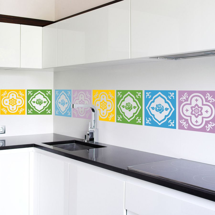 Peranakan Tiles Rose Quality Made In Singapore Decal From Decorette Wall Decals Wall Stickers Wallpaper Banksy Wall Stickers