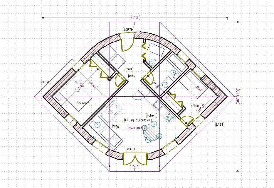 Straw bale house plan 670 sq ft eye shape build it for Strawbale house plans