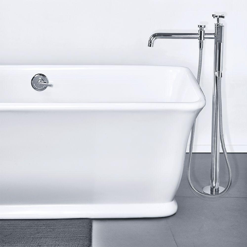 Solid Surface Tub Rectangular Bath Shower Mixer Shower Bath Bath Faucet