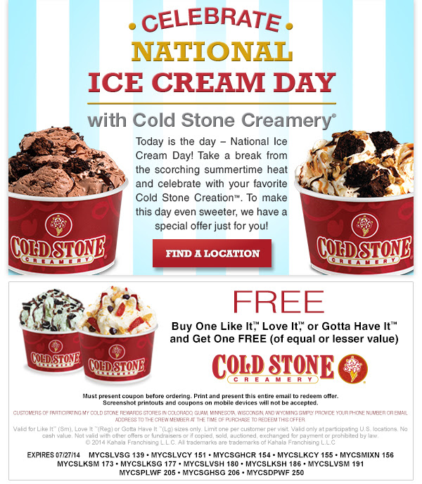 Celebrate National Ice Cream Day With Us Lovecoldstoneholt To Receive Coupon Sign Up Https Coldstonecreame Ice Cream Day Ice Cream Cold Stone Creamery