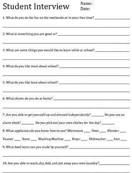 Student Transition Interview Answer Sheet With Images
