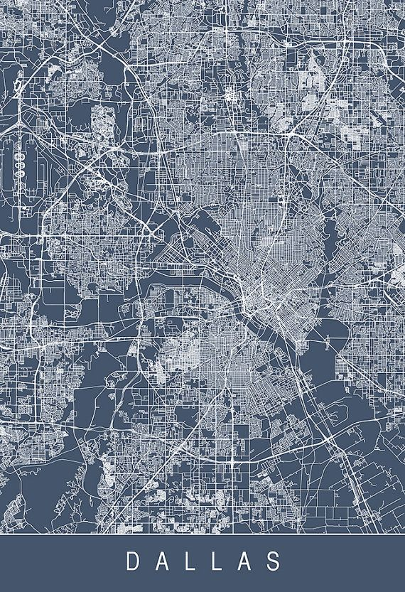 DALLAS CITY MAP Art Print Line Art City by EncoreDesignStudios